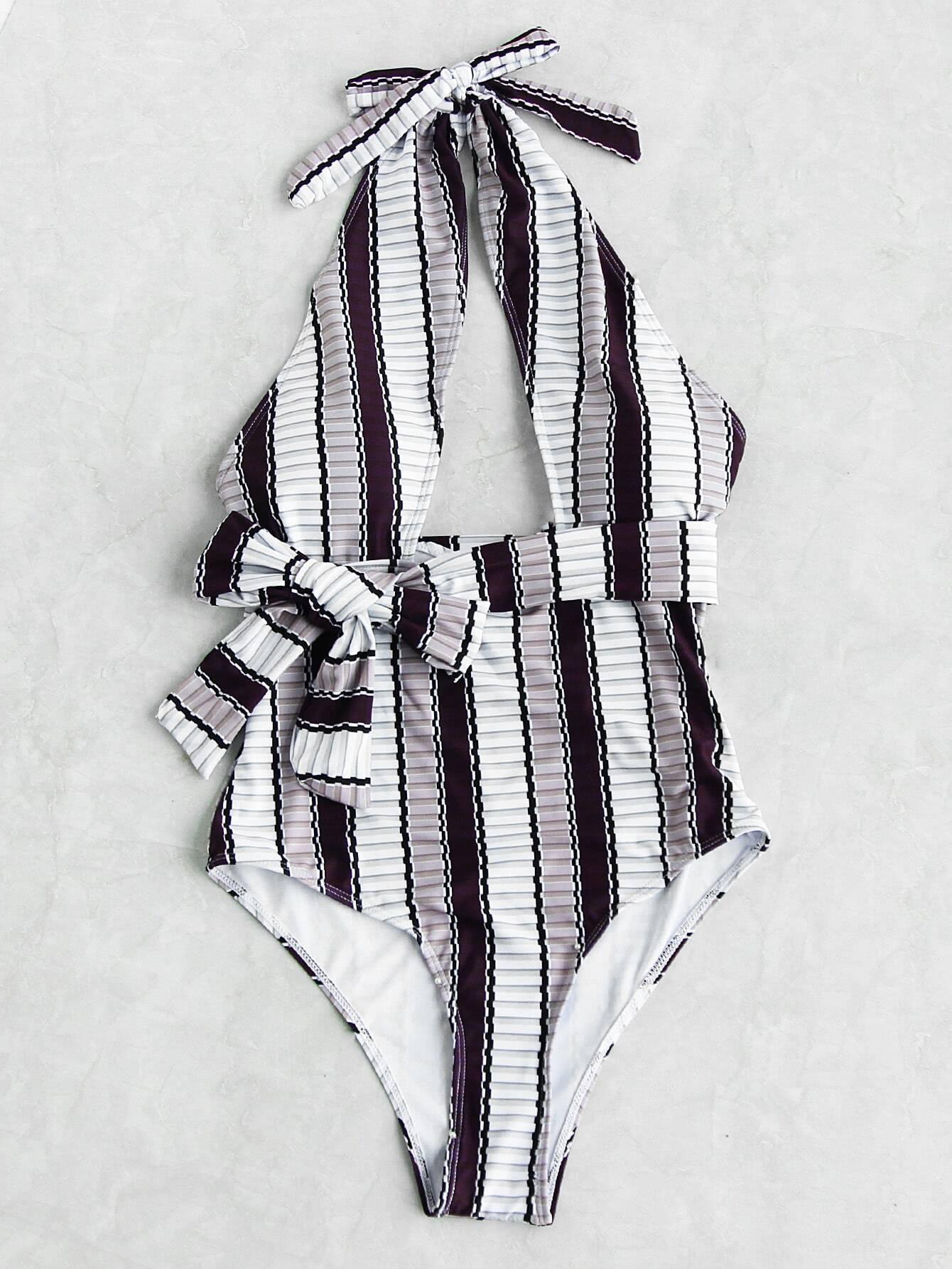 Vertical Striped Front Cutout Self Tie Monokini