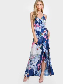 Ruffle Floral Print Tie Up Dress NAVY