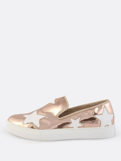 Patent Star Slip On Sneakers ROSE GOLD