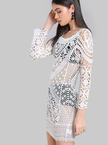 Crochet Long Sleeve Dress IVORY