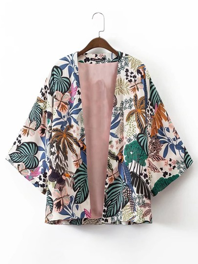 Kimono con estampado tropical abierto en la parte delantera
