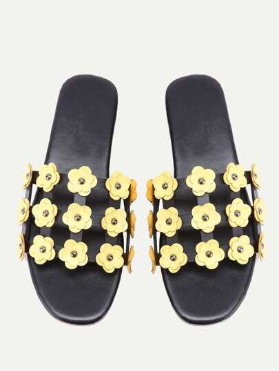 Flower Embellished Cut Out Sliders