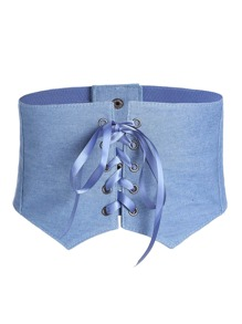 Crisscross Lace Up Denim Corset Belt