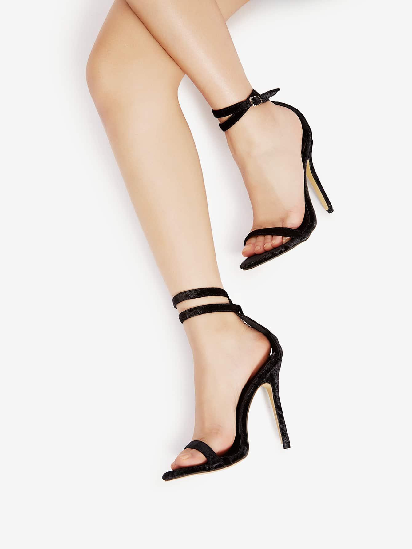 Купить Модные бархатные босоножки на каблуках, null, SheIn