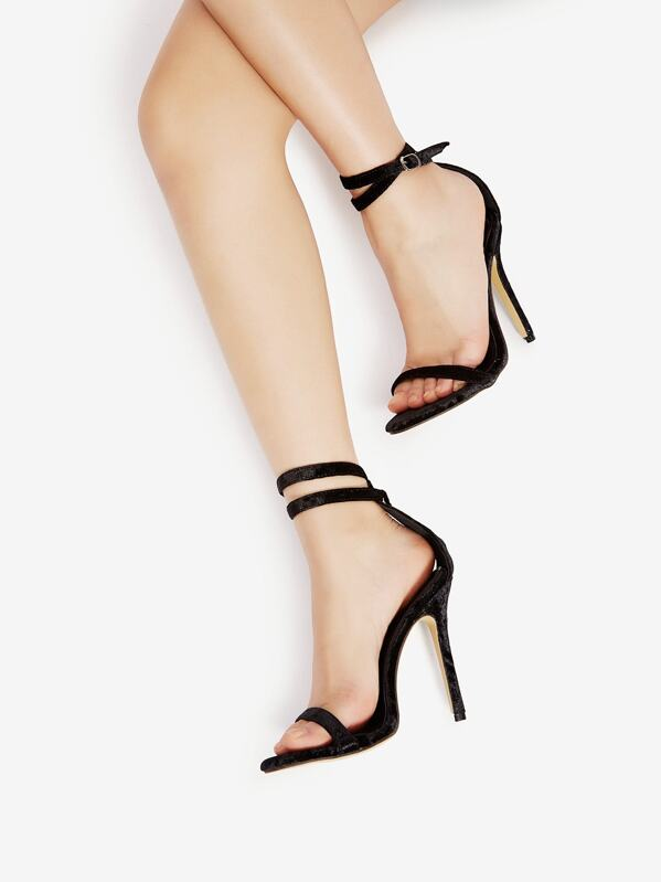Two Part Stiletto Velvet Sandals, null
