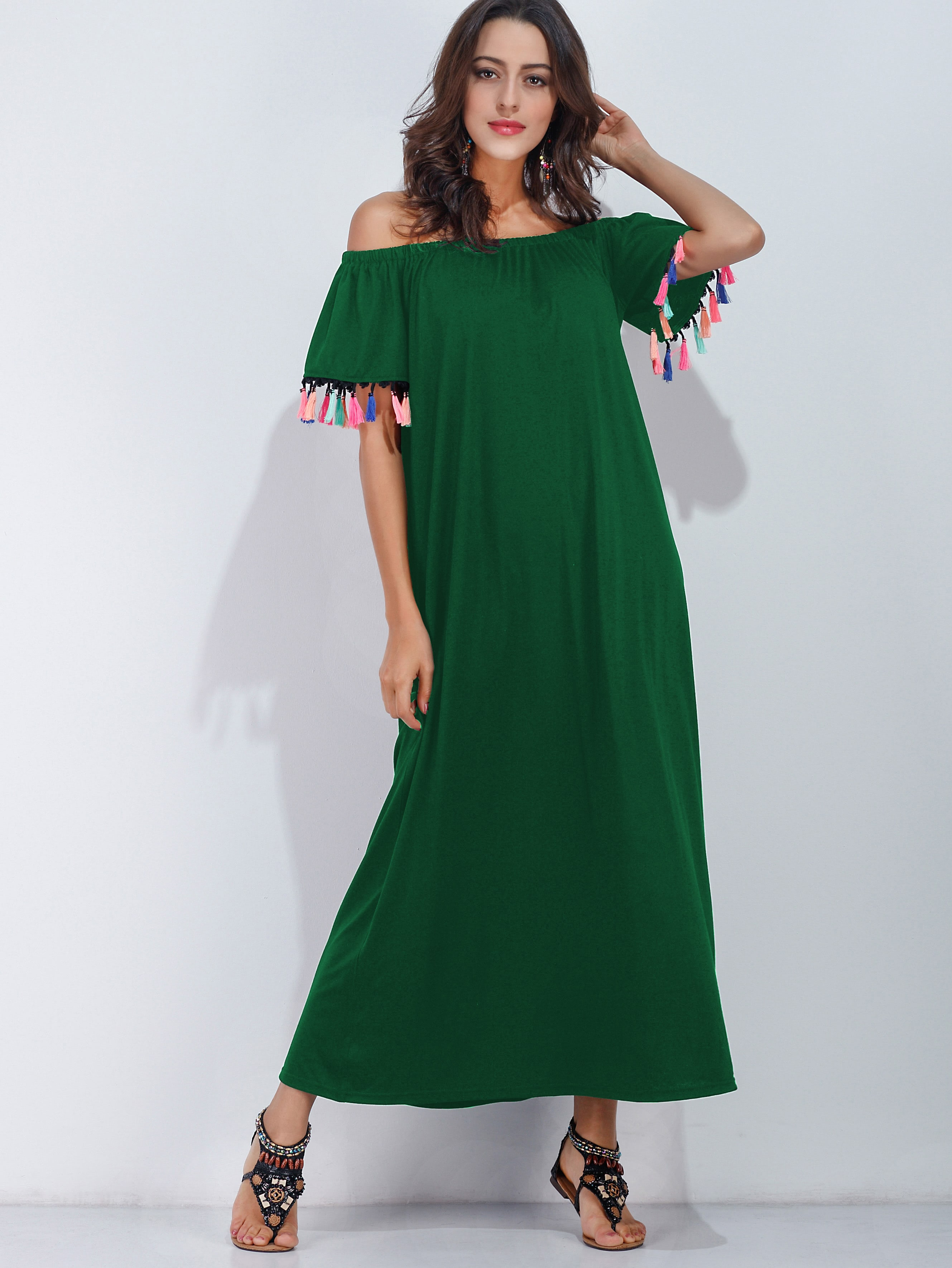 Фото Bardot Fringe Trim Full Length Dress. Купить с доставкой