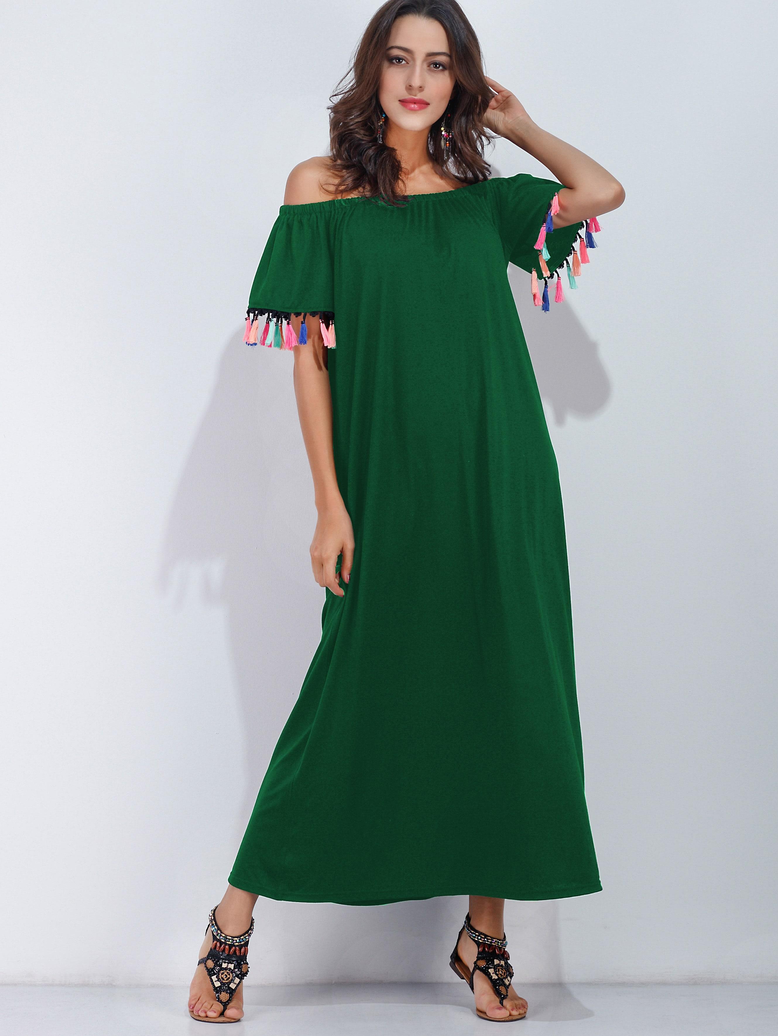 Фото Bardot Fringe Trim Full Length Dress. Купить с доставкой