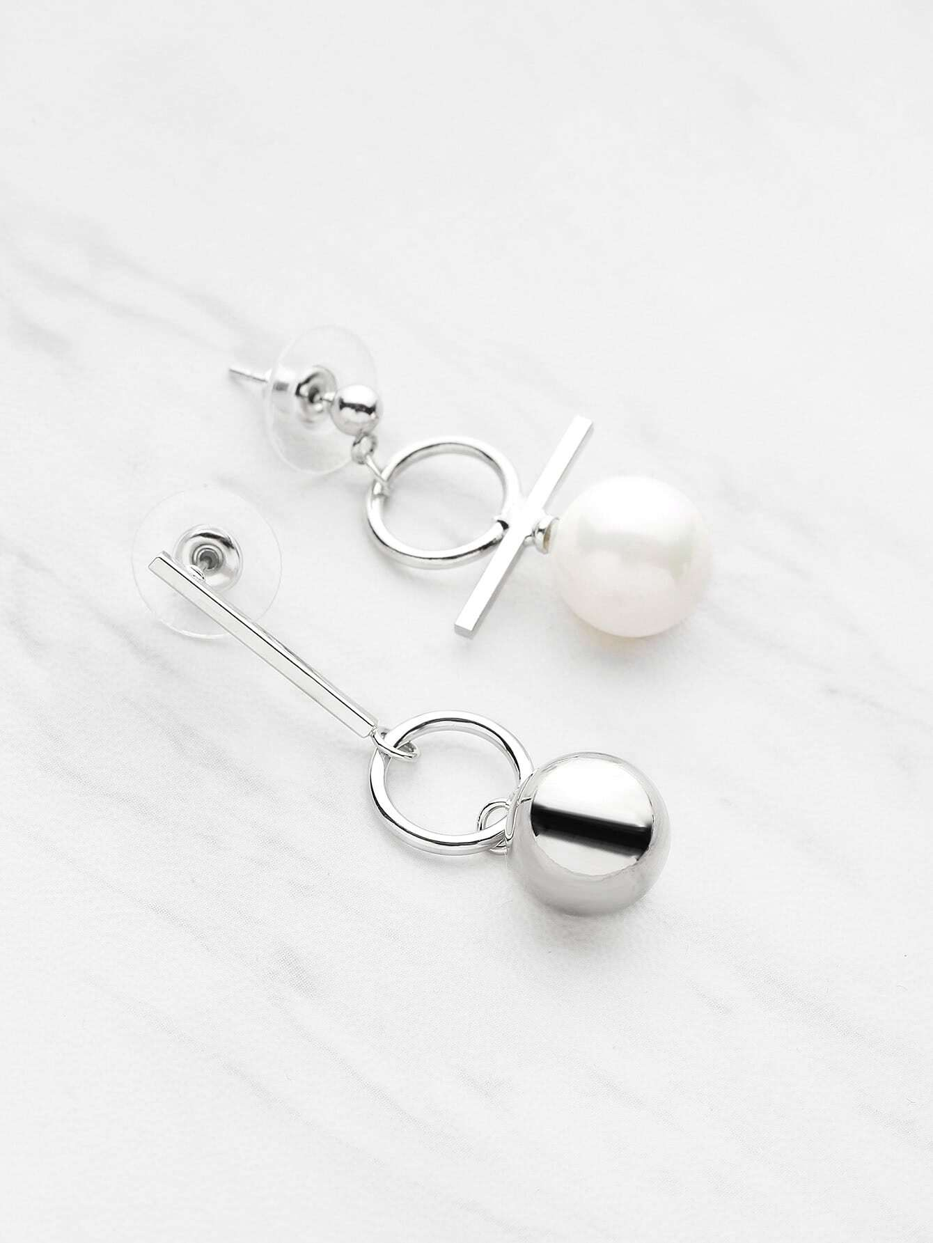 Фото Ball Shaped Asymmetry Drop Earrings. Купить с доставкой