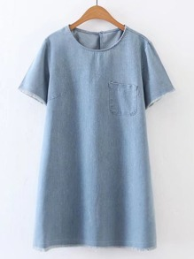 Patch Pocket Front Keyhole Back Frayed Denim Dress