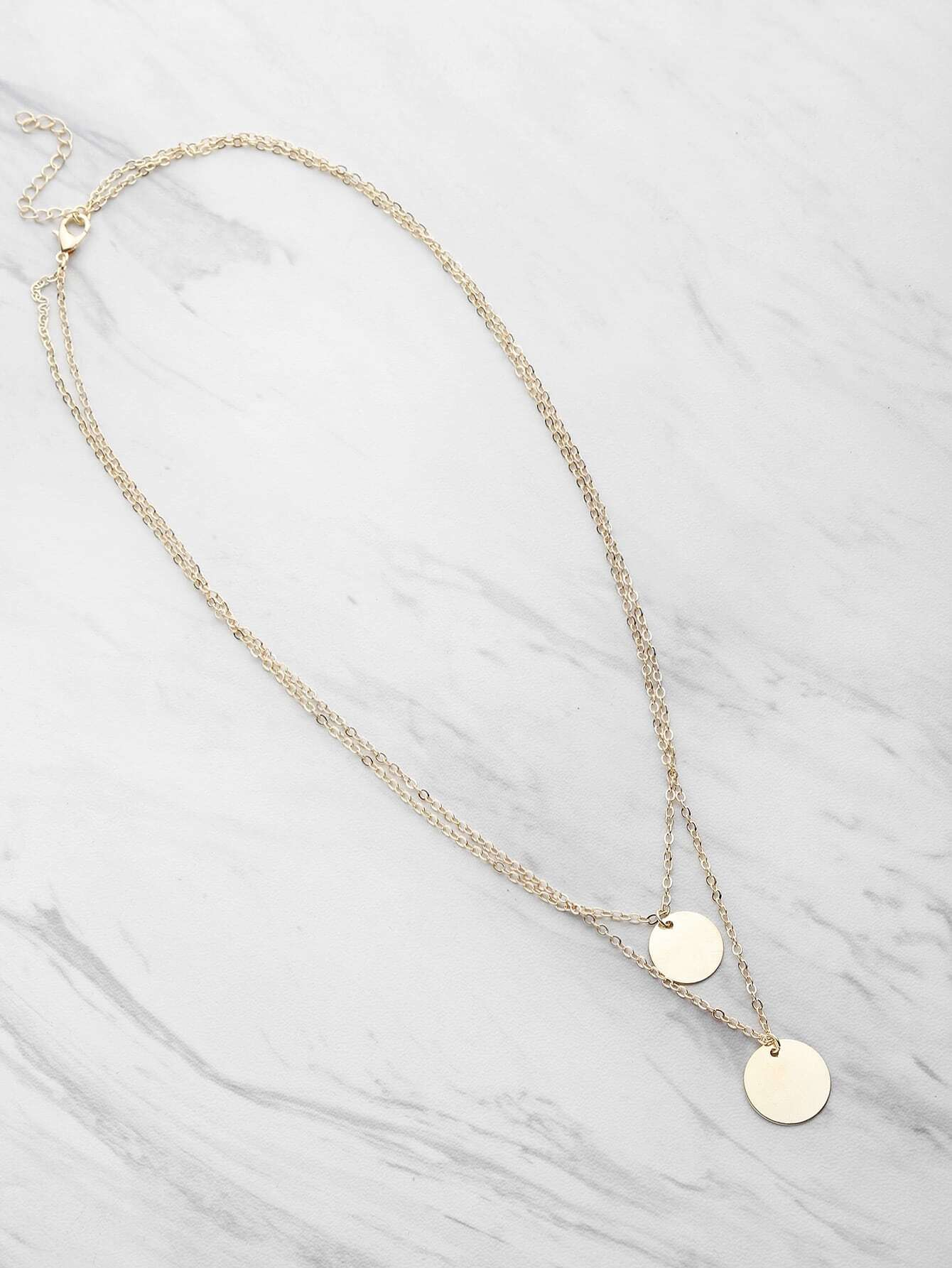 Фото Coin Fringe Detail Delicate Double Layer Necklace. Купить с доставкой