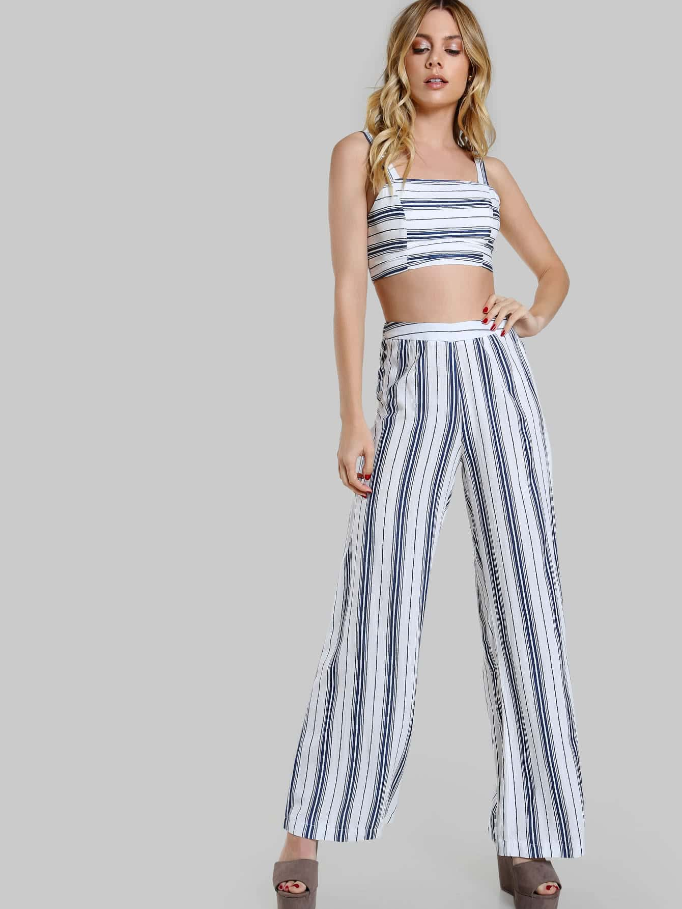 Striped Tank Lace Up Crop & Matching Pant Set -SheIn ...