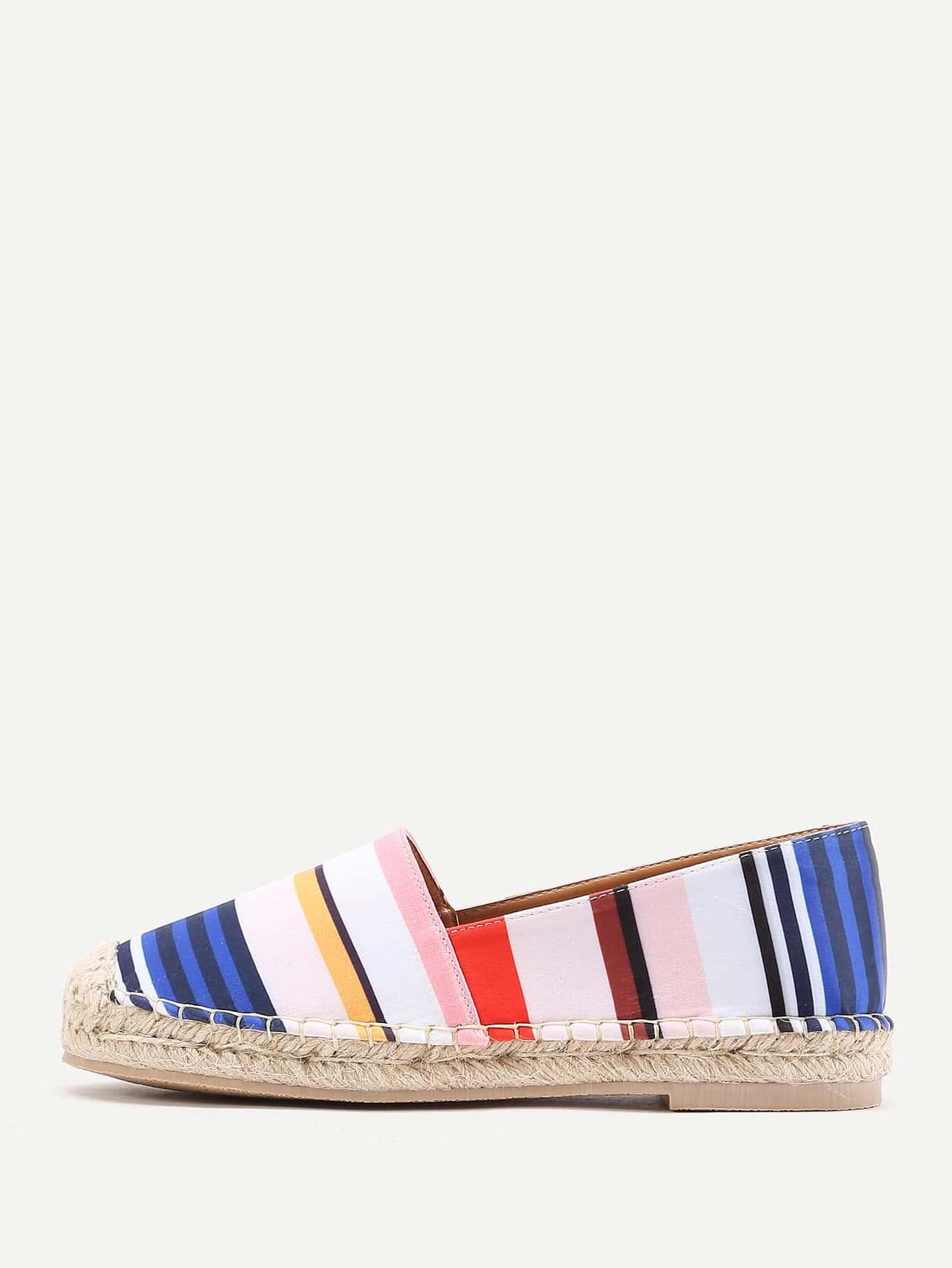 Фото Block Striped Print Espadrille Flats. Купить с доставкой