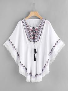 Embroidered Tassel Tie Neck Lace Trim Kaftan Dress
