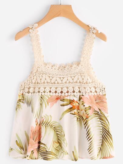 Floral Print Contrast Crochet Lace Top