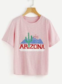 Graphic Print Slub Tshirt