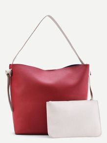 Color Block Tote Bag With Removable Clutch