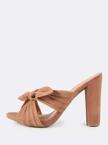 Cross Band Bow Slip On Heels CAMEL