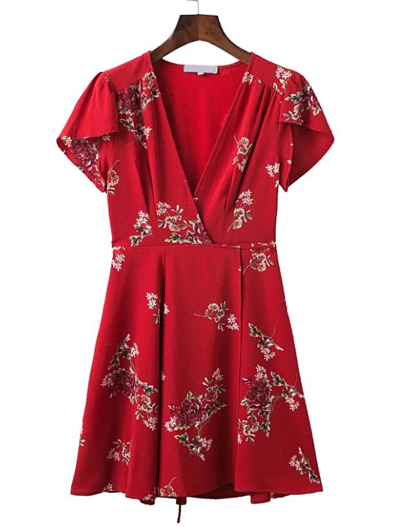 Фото V-Neckline Floral Print Chiffon Dress. Купить с доставкой