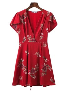 V-Neckline Floral Print Chiffon Dress