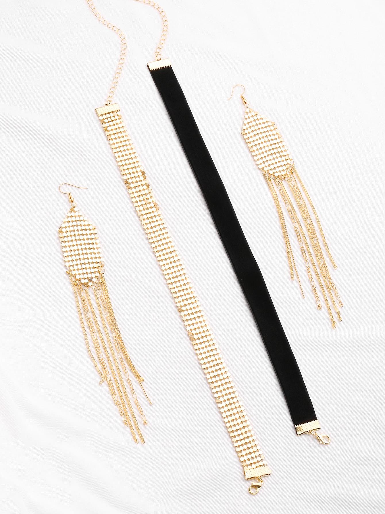 Фото Velvet And Sequin Choker With Drop Earrings. Купить с доставкой