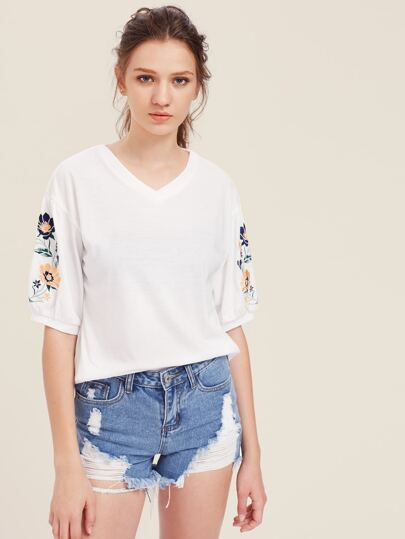 Embroidered Lantern Sleeve Top pictures