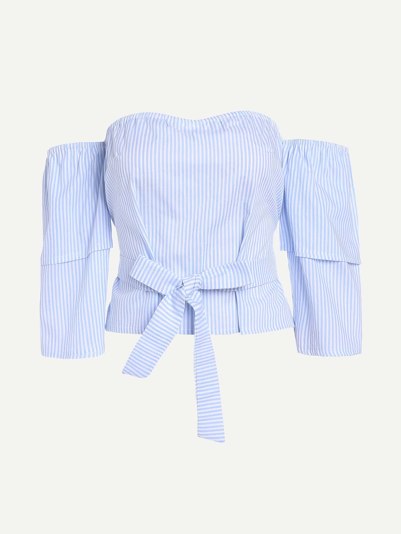 Фото Layered Sleeve Tie Waist Bardot Top. Купить с доставкой