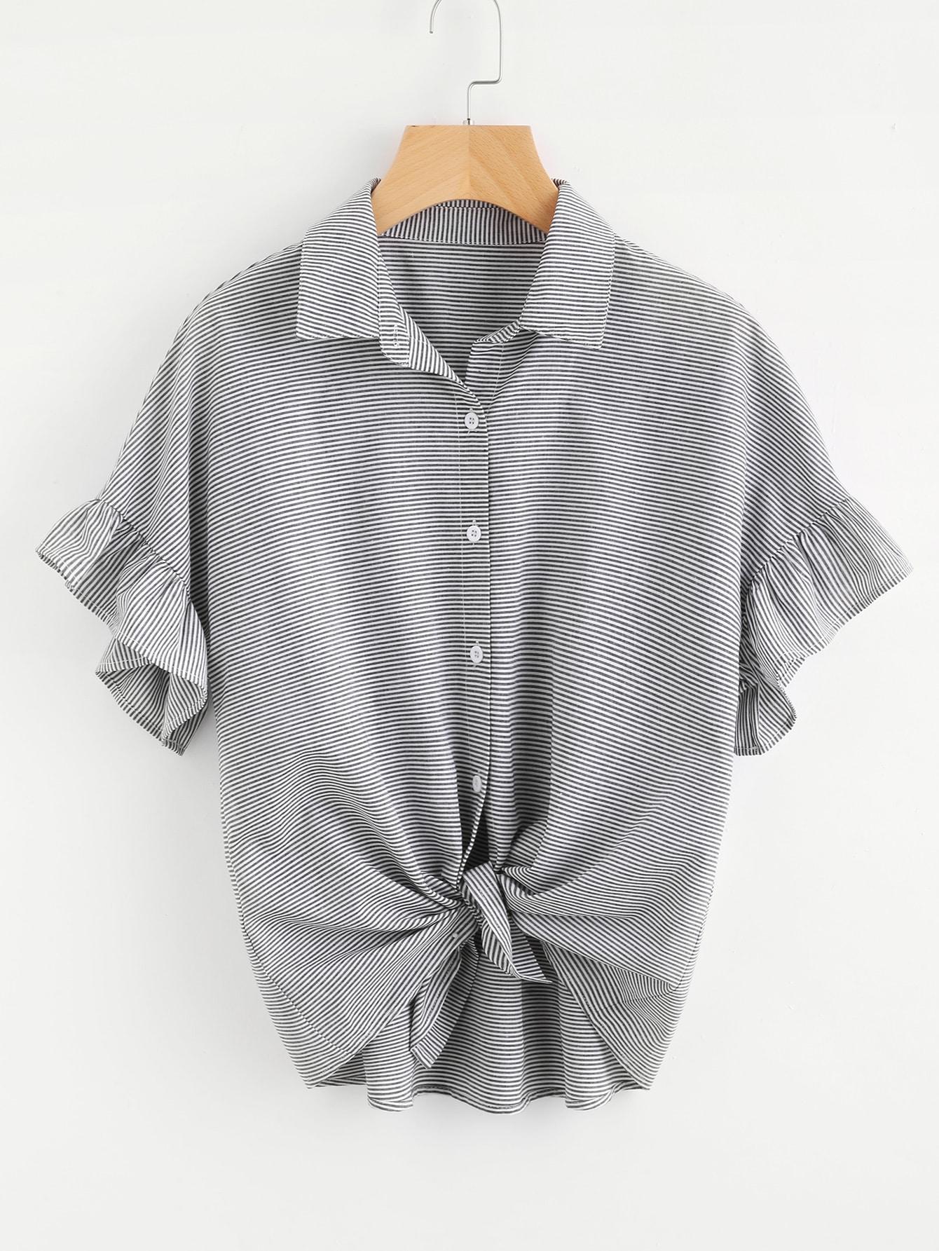 Фото Ruffle Cuff Drop Shoulder Striped Blouse. Купить с доставкой