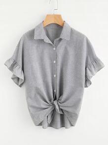 Blusa de rayas con volantes y hombros caídos