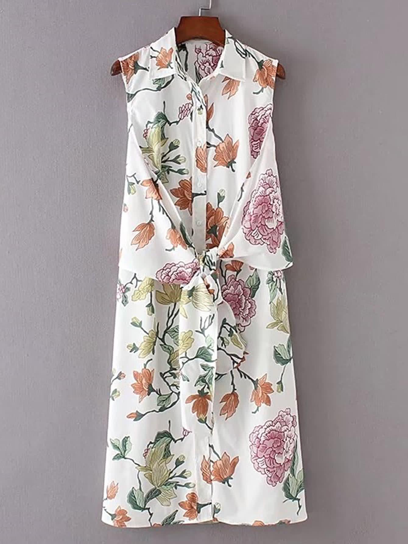Фото Floral Print Knot Front Shirt Dress. Купить с доставкой