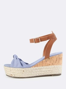 Knotted Espadrilles Cork Wedges SLATE