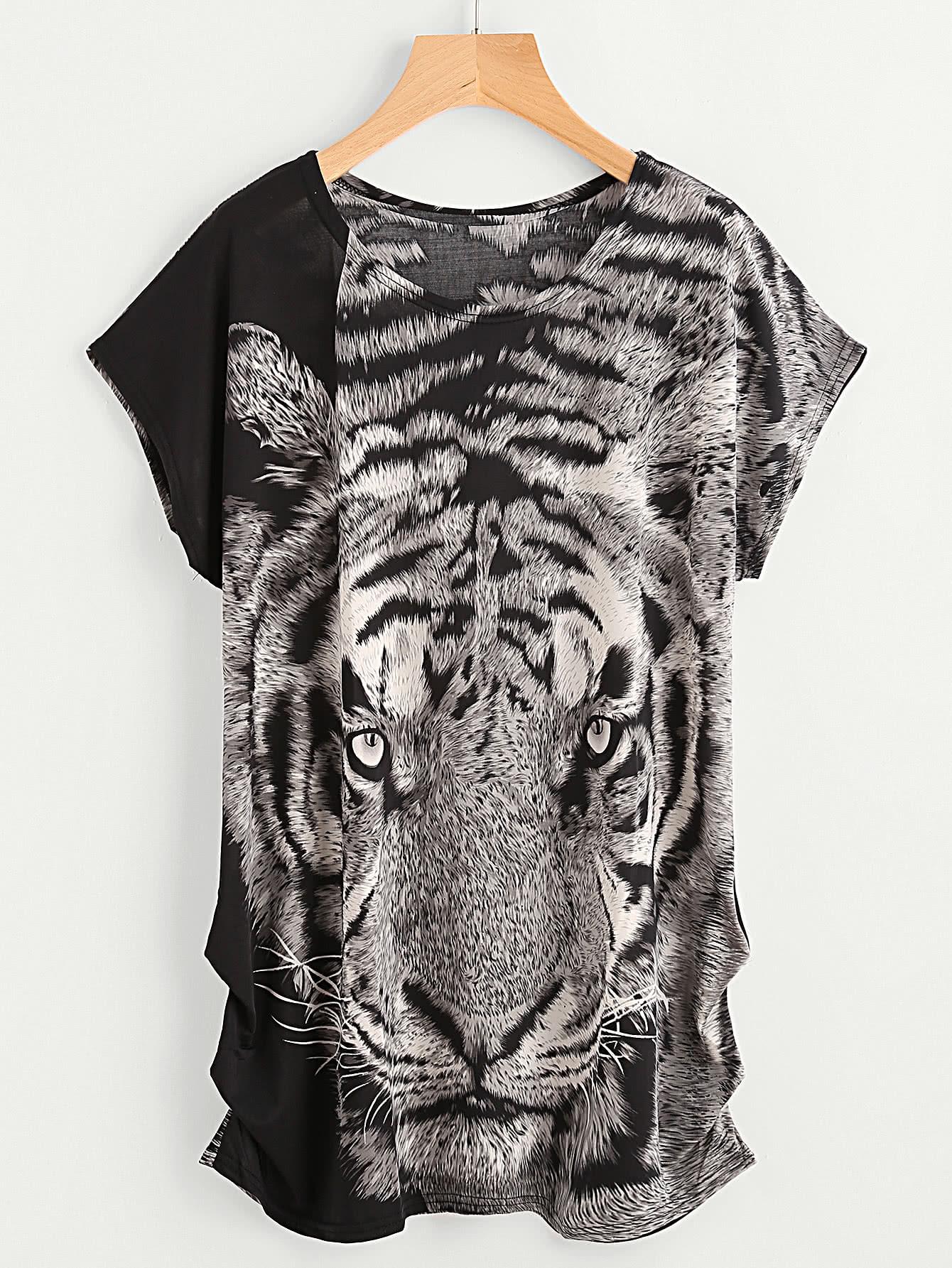 Фото Tiger Print Dolman Sleeve Shirred Side Longline Tee. Купить с доставкой