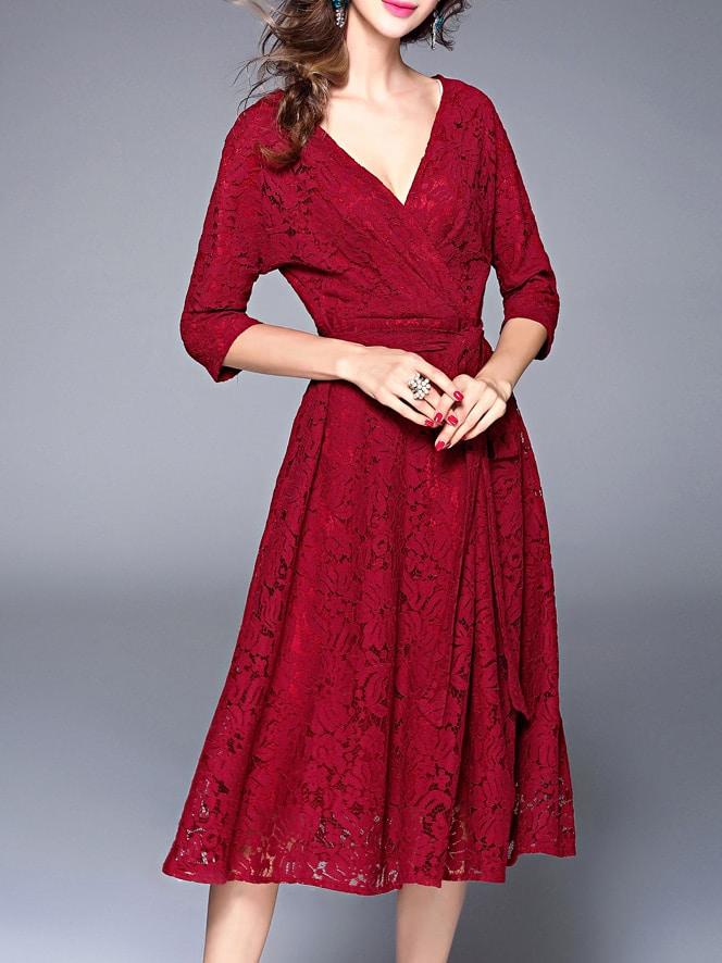 Фото Deep V Neck Tie-Waist Lace Dress. Купить с доставкой