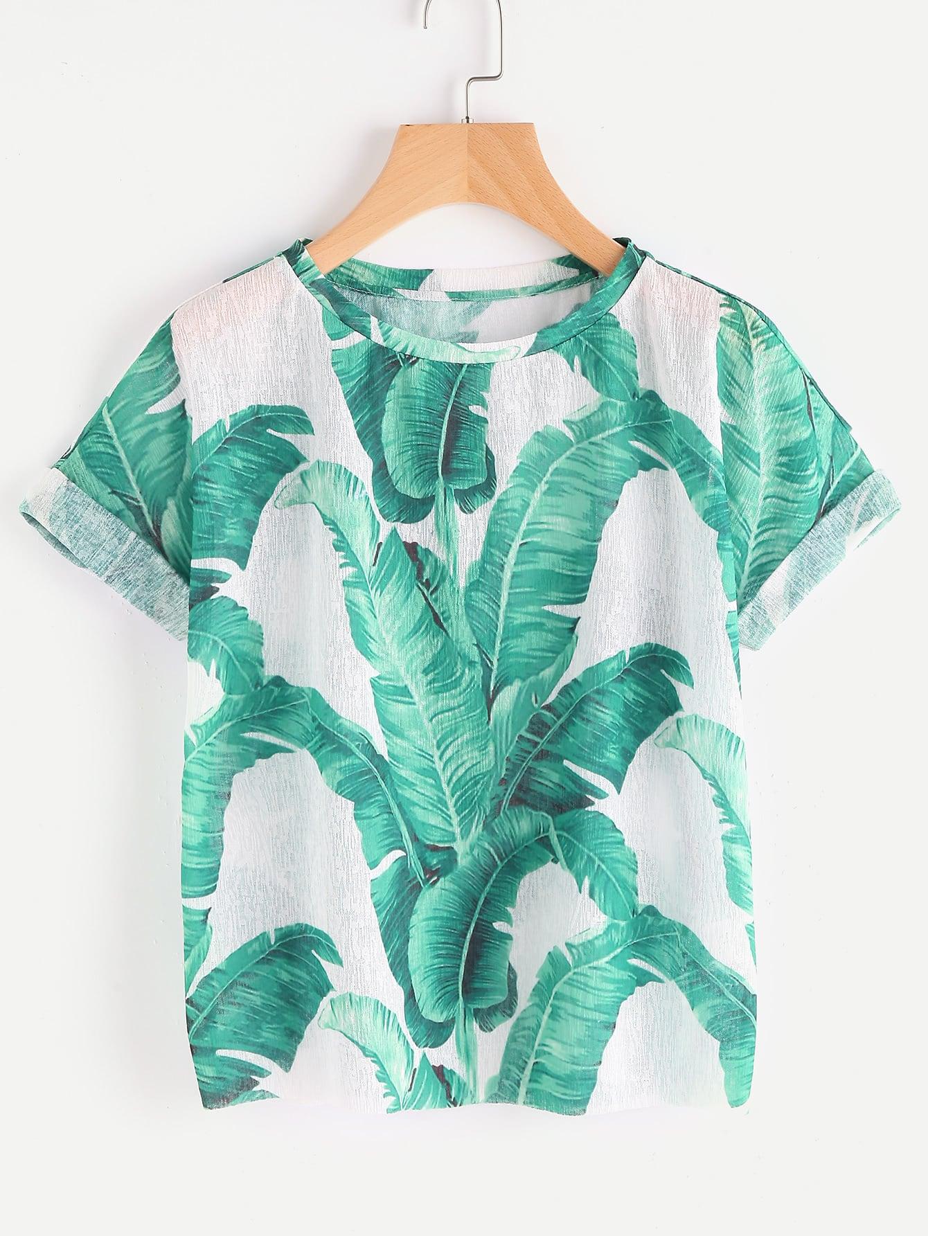 Фото Jungle Leaf Print Cuffed Sleeve T-shirt. Купить с доставкой
