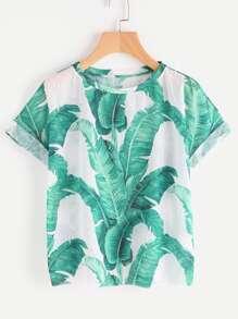 T-shirt con stampa di foglia di giungla
