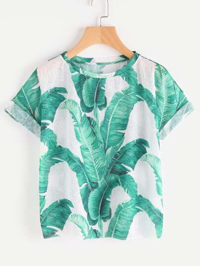 Jungle Leaf Print Cuffed Sleeve T-shirt