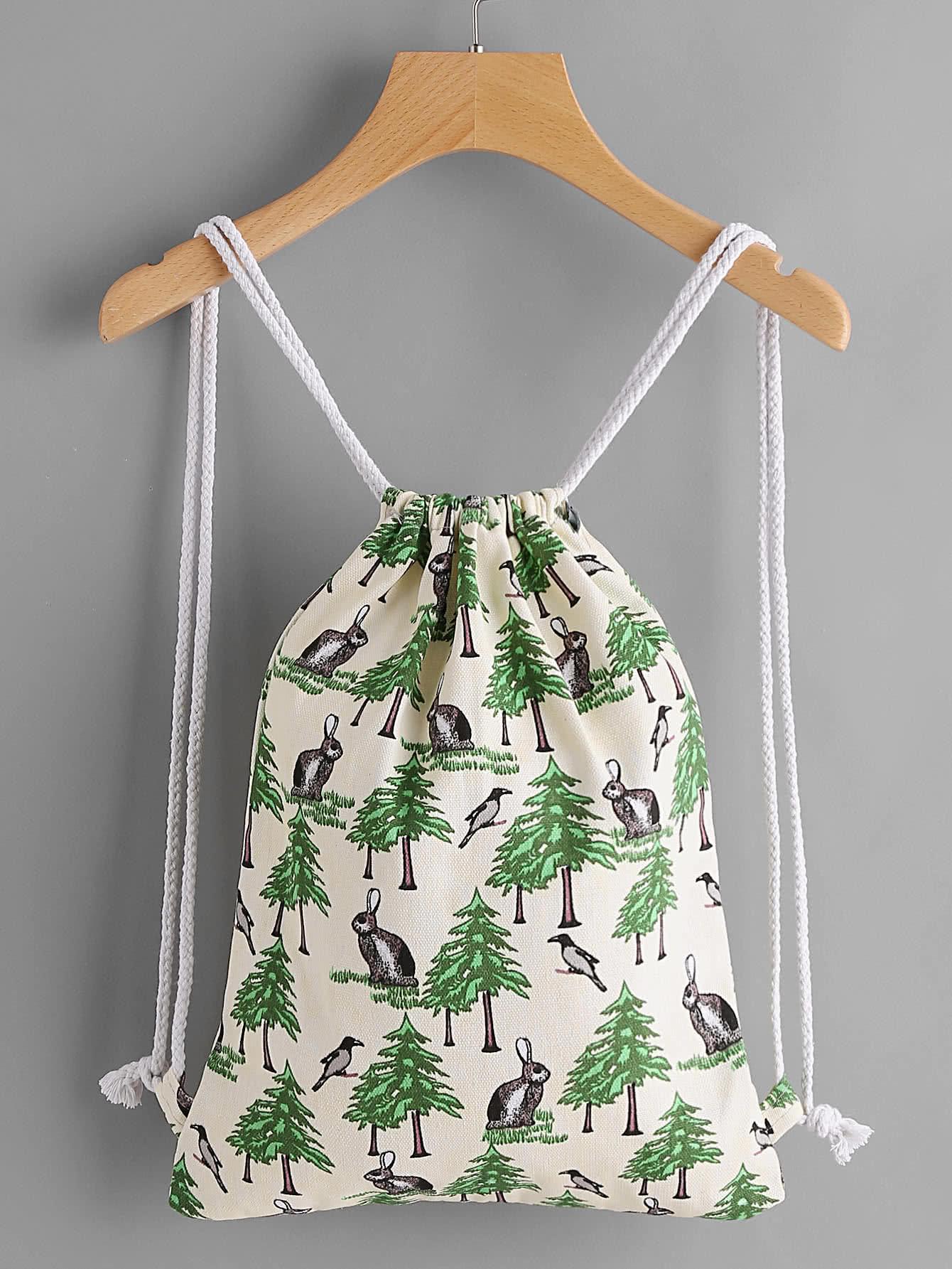Фото Leaf Print Drawstring Canvas Backpack. Купить с доставкой