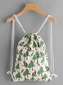 Модный холщовый рюкзак с принтом