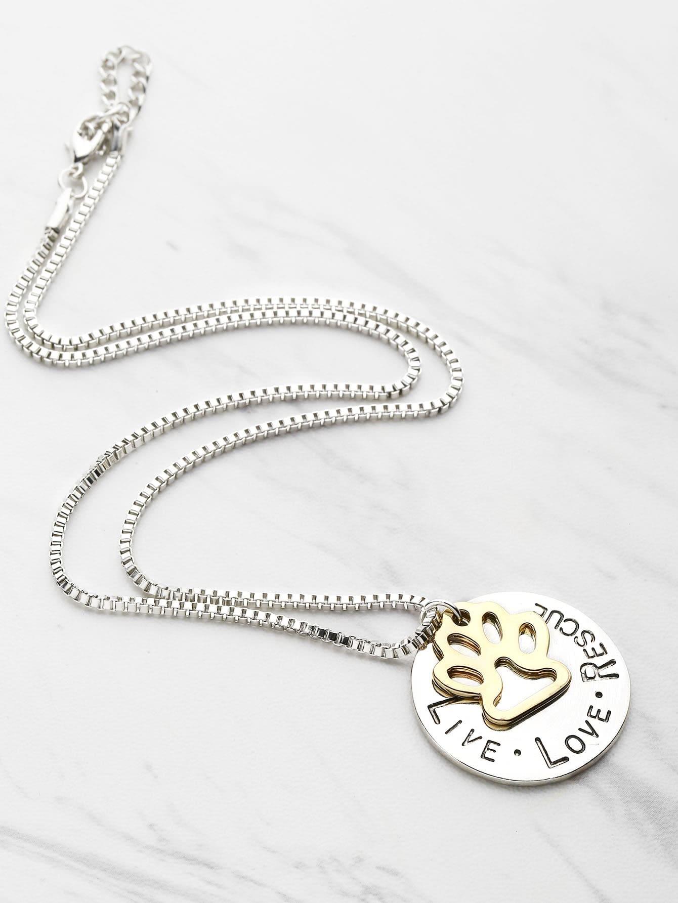 Фото Dog Claw And Letter Design Pendant Necklace. Купить с доставкой