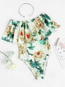 Flounce Layered Neckline Floral Bodysuit