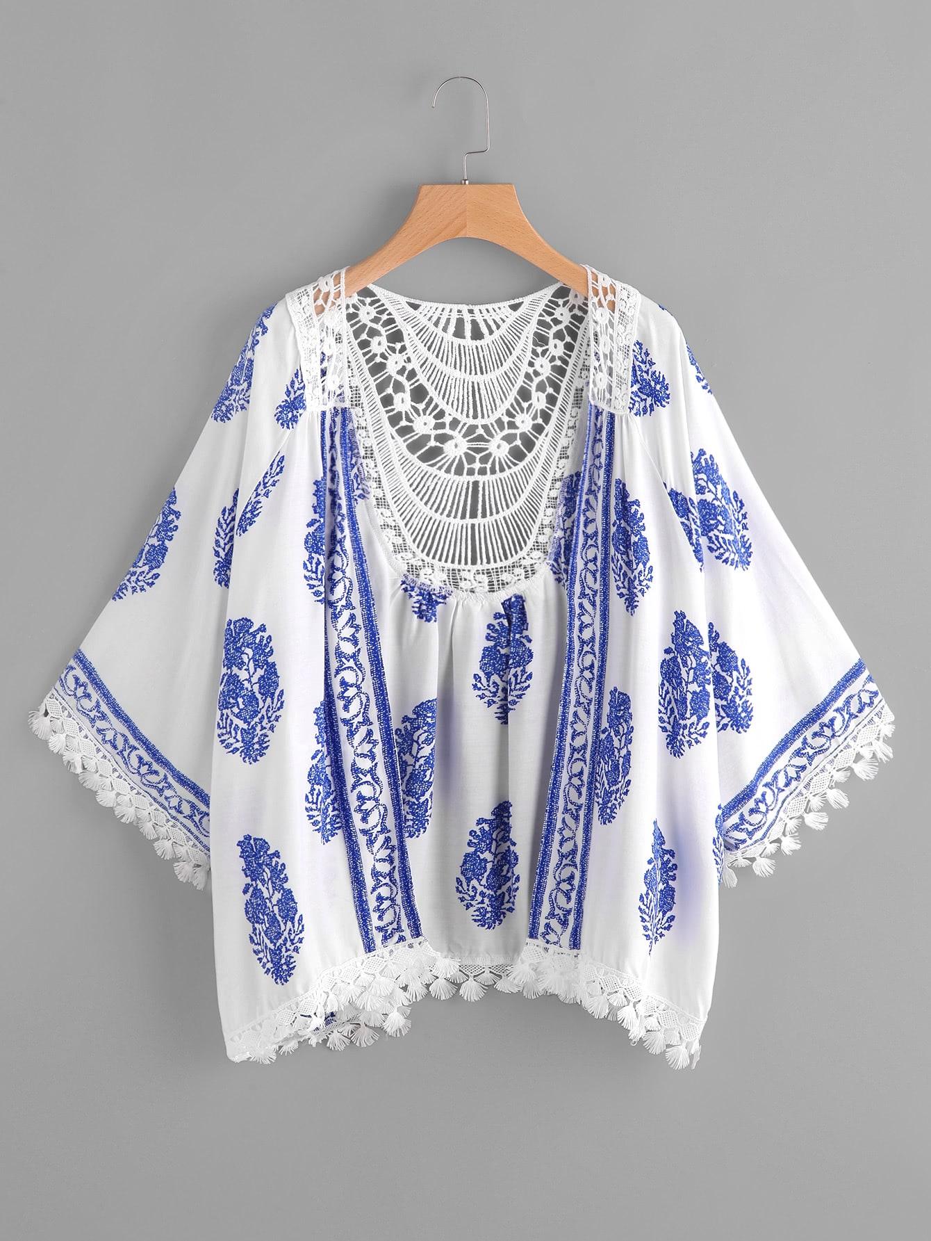 Printed Contrast Crochet Trim Kimono crochet trim sheer lace kimono