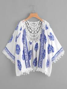 Printed Contrast Crochet Trim Kimono
