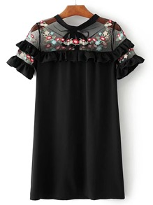 Contrast Mesh Frill Trim Embroidery Dress