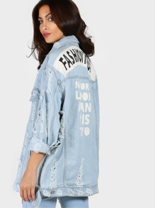 Painted Distressed Denim Jacket DENIM