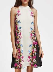 Floral Buttoned Keyhole Halter Neck Swing Dress