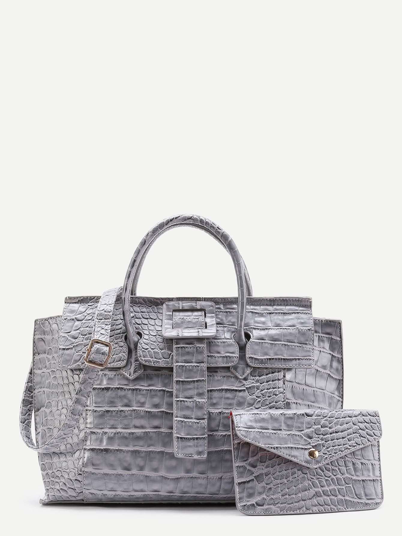 Фото Crocodile Embossed Grap Bag With Clutch. Купить с доставкой