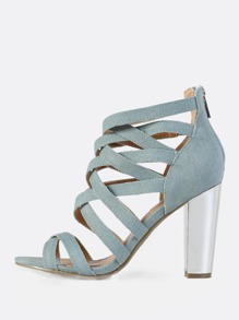 Denim Caged Metallic Heel LIGHT BLUE DENIM