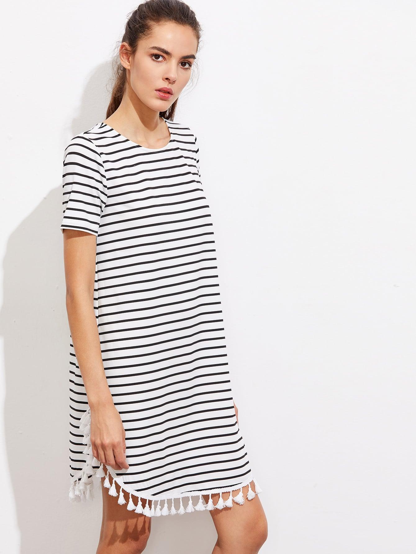 Tassel Trim Dolphin Hem Striped Tee Dress heather knit dolphin hem tee dress