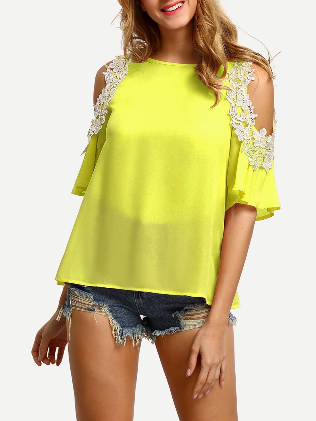 Lace Applique Open Shoulder Keyhole Back Top blouse170504703