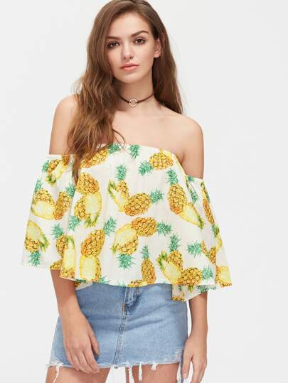 Pineapple Print Off Shoulder Top