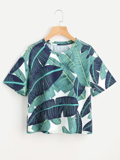 Drop Shoulder Foliage Print T-shirt